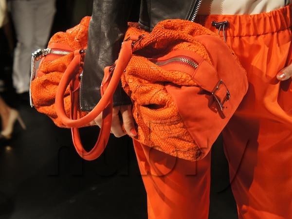 Orange tote clutch