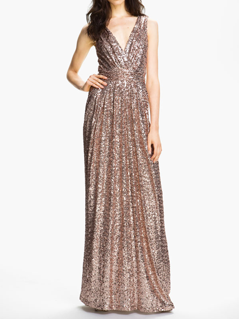 Badgley Mischka Double V-Neck Sequin Gown
