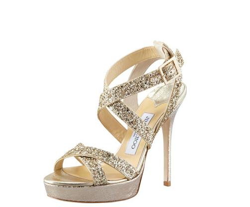Jimmy Choo Vamp Glitter-Strap Gold Sandal Gretchen hackmann Miss California USA 2013 Nubry