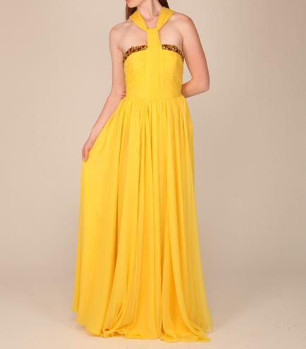Nara Paz Orla Chiffon Halter-Neck Couture Gown Gretchen Hackmann Miss California 2013 Nubry