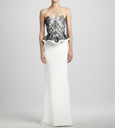 Notte by Marchesa Strapless Lace-Top Gown