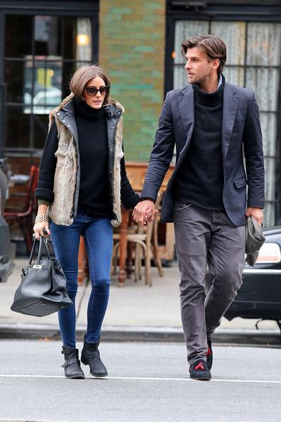 Olivia+Palermo Johannes+Huebl zoltaig fur vest black birkin bag
