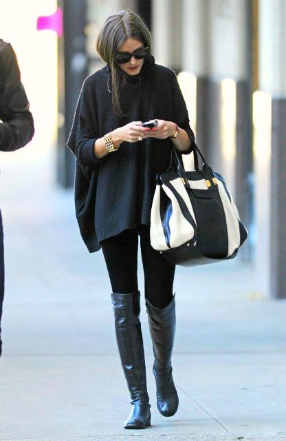 Olivia Palermo chloe alice tote bag stuart weitzman 5050 boots