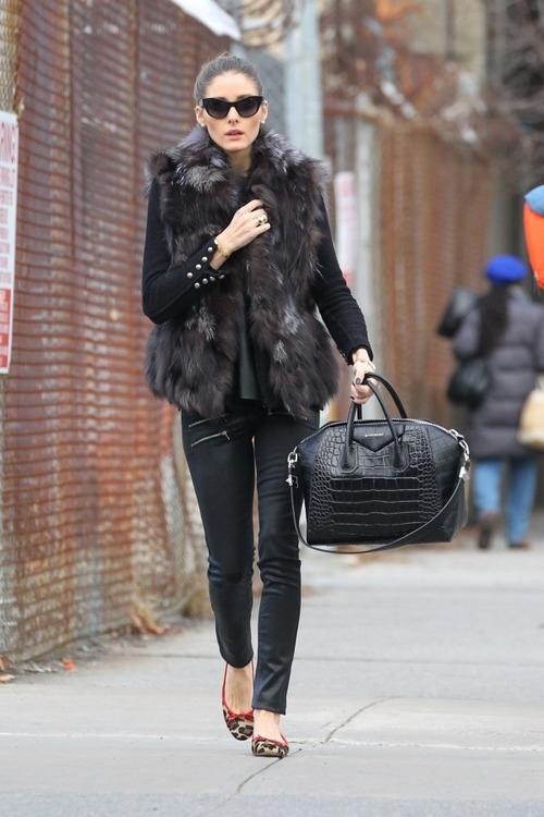Olivia Palermo croc Givenchy bag fur vest