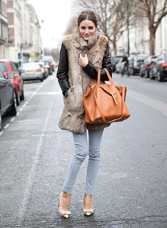 Olivia Palermo meli melo thela bag fur vest