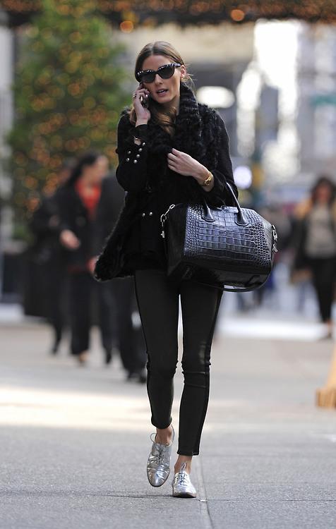 Olivia Palermo sergio rossi silver metallic oxford Givenchy Antigona tote leather leggings