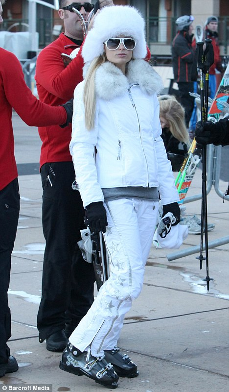 Paris hilton in white jet set aspen 2011