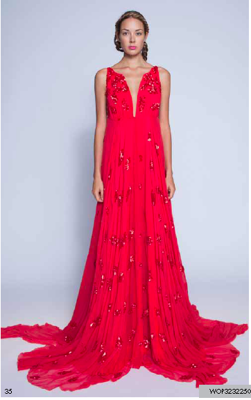 Son Jung Wan Red Sequin Deep V Long Gown Spring 2013 Gretchen Hackmann Nubry Miss California