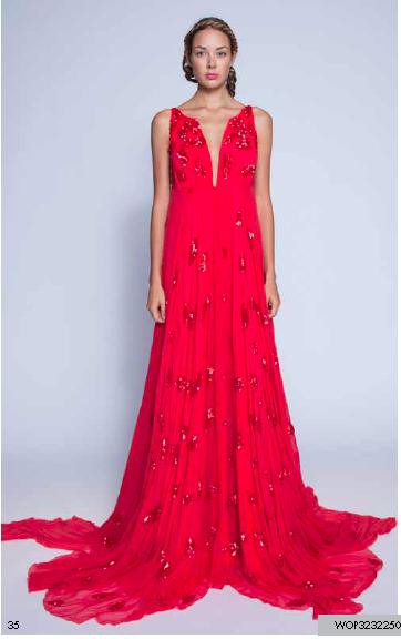 Son Jung Wan Red Sequin Deep V Long Gown Spring 2013 Gretchen Hackmann Nubry Miss California
