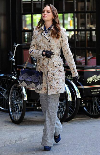 blair waldorf floral jacket mosaic bag gossip girl