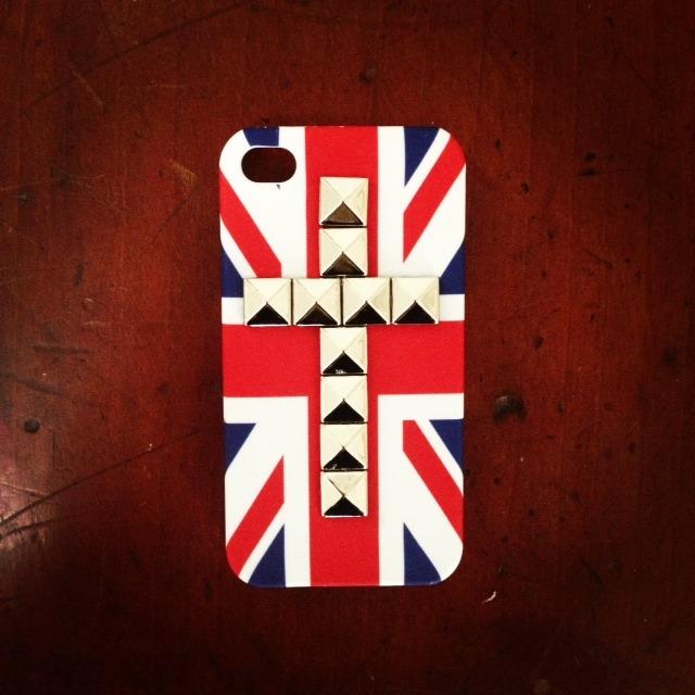 iphone 4S British Flag Studded case Secret Santa yankee swap