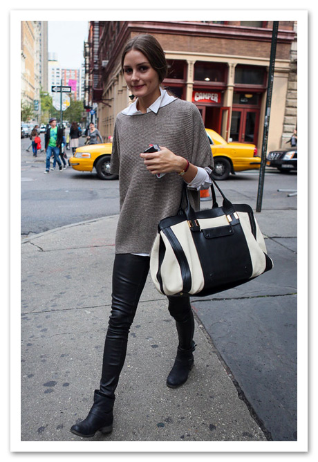 olivia palermo leather leggings chloe alice black and white tote
