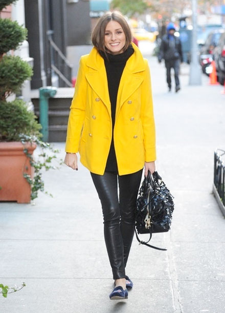 olivia palermo yellow old navy pea coat stubbs wooten smoking slipper leather leggings