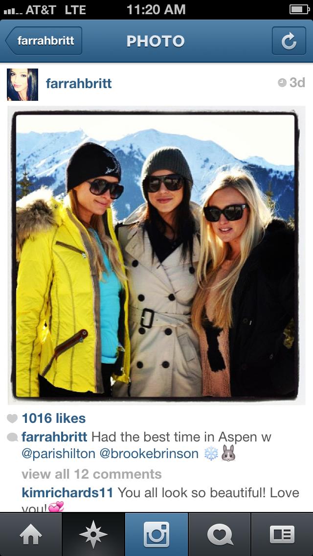 Paris Hilton Farrah Britt Brooke Brinson Aspen yellow bogner burberry leather sleeve trench