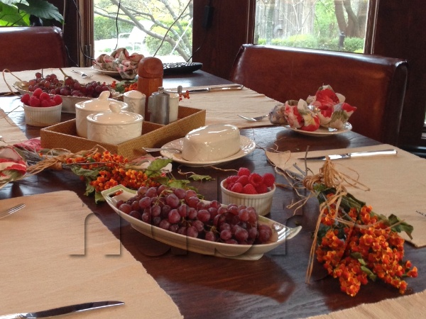 Breakfast Table Setting - natural elements, pop of color, and sisel