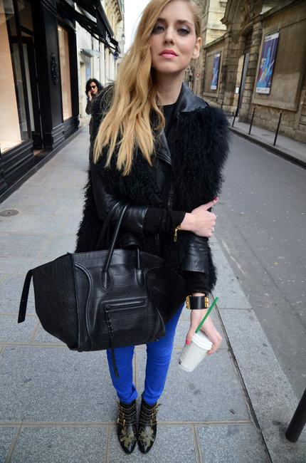 Chiara Ferragni celine croc phantom bag blue jeans-chloe-flat-studded-boots-gallery
