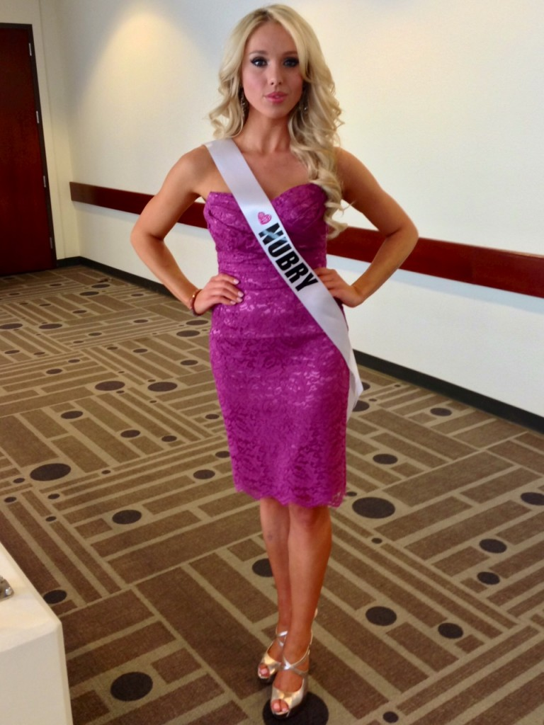 Here I am wearing wearing a strapless lace dress by Dolce & Gabbana to Miss California USA interview with the judges.
