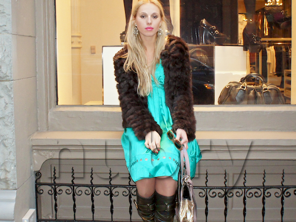 Gretchen Hackmann of Nubry wearing emerald Green dress in New York City by See By Chloe