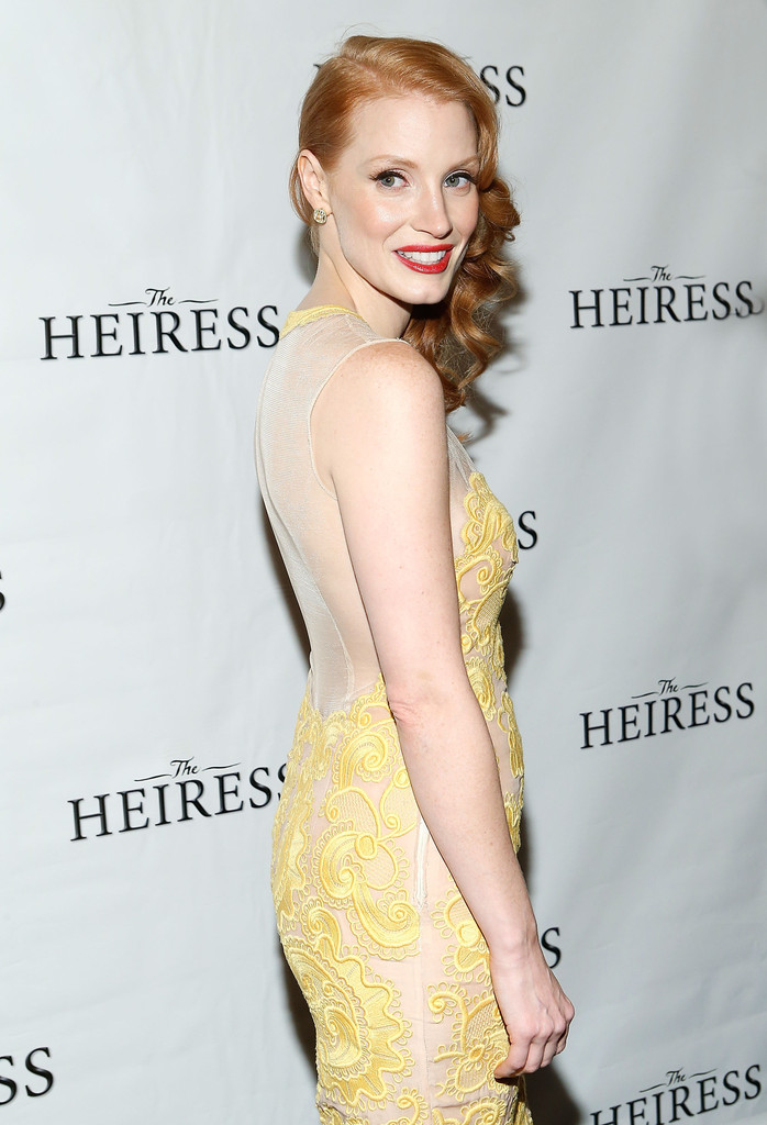 Jessica-Chastain-yellow-stella-mccartney-lace-dress-spring-2013-The-Heiress-Broadway-Revival-Opening-Night-After-Party