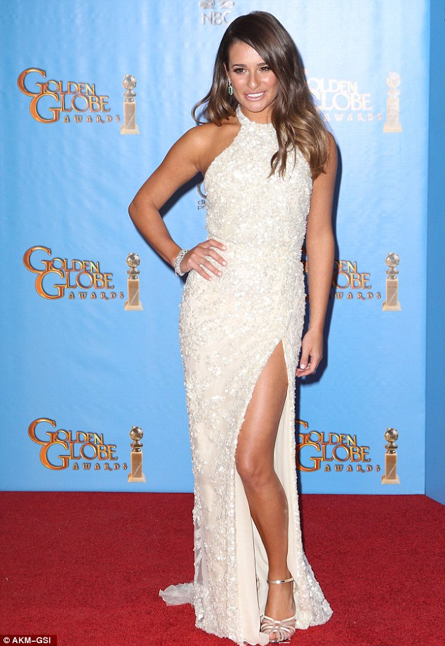 Lea Michele Elie Saab white gown high slit golden globes