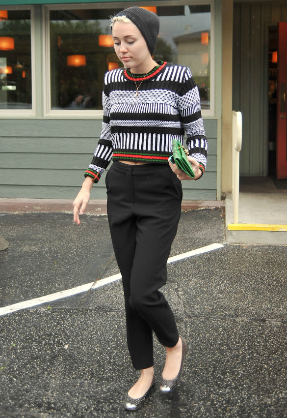 Miley Cyrus cigarette pants printed sweater beanie gucci emeral green blutch giuseppe zanotti flats