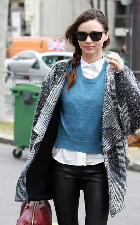 Miranda-Kerr-sweater coat gray