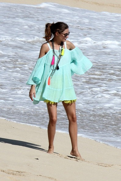 Olivia+Palermo+tassel necklace mint coverup