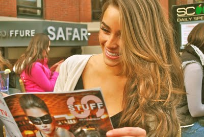 Olivia Culpo on cover of STUFF mag at Scoozi boston