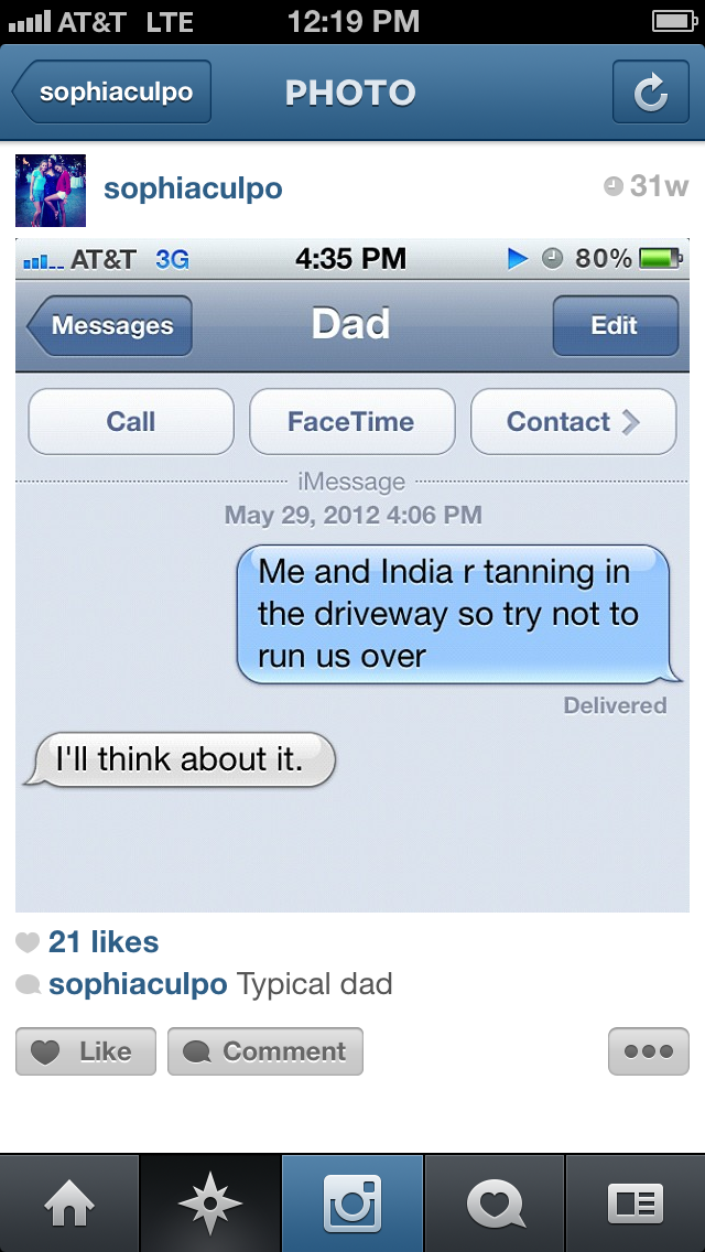 Olivia Culpo text message with dad
