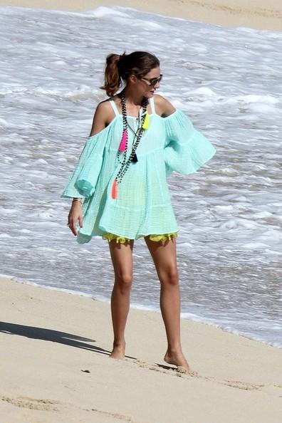 Olivia Palermo tassel necklace mint coverup