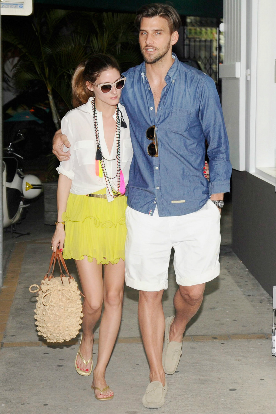 Olivia Palermo yellow skirt tassel necklace st barts