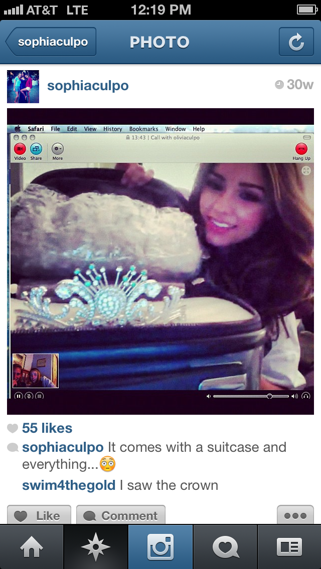 Olivia culpo on skype with crown