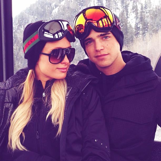Paris Hilton bogner black ski outfit gucci goggles aspen