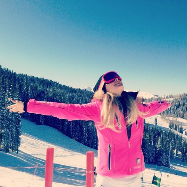 Paris Hilton pink bogner jacket aspen