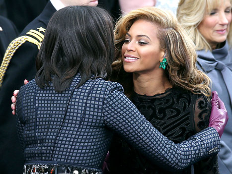 beyonce-knowles michelle obama inauguration emerald green lorraine schwartz earrings pucci dress