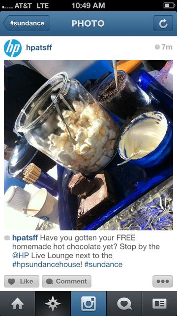 HP makes hot chocolate lounge sundance park city