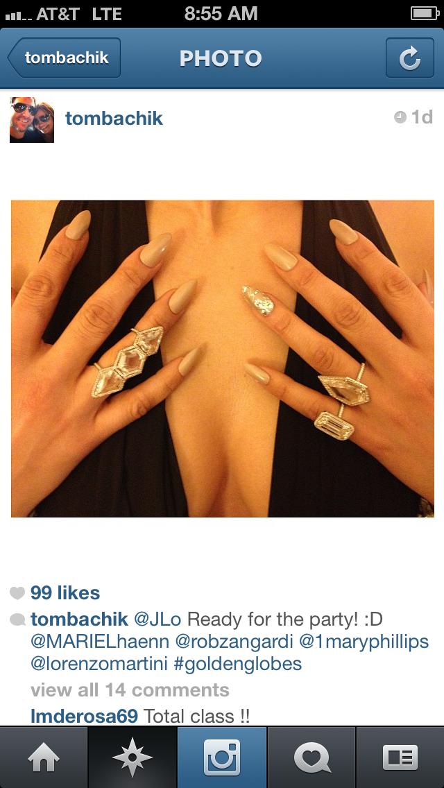 Jennifer lopez golden globes nails talons Tom bachik