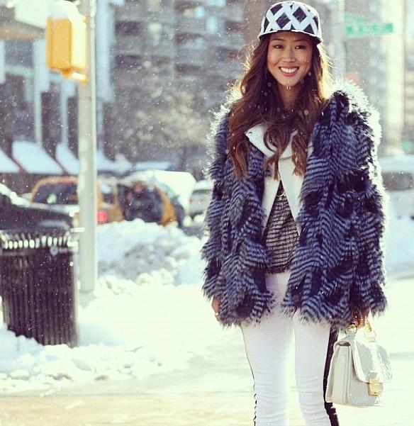 Aimee Song bsable faux fur feather coat nyfw