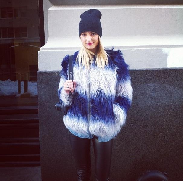 Amanda Del Duca blue white faux fur new york fashion week editor