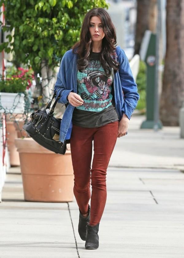 Ashley Greene pastel blue hoodie