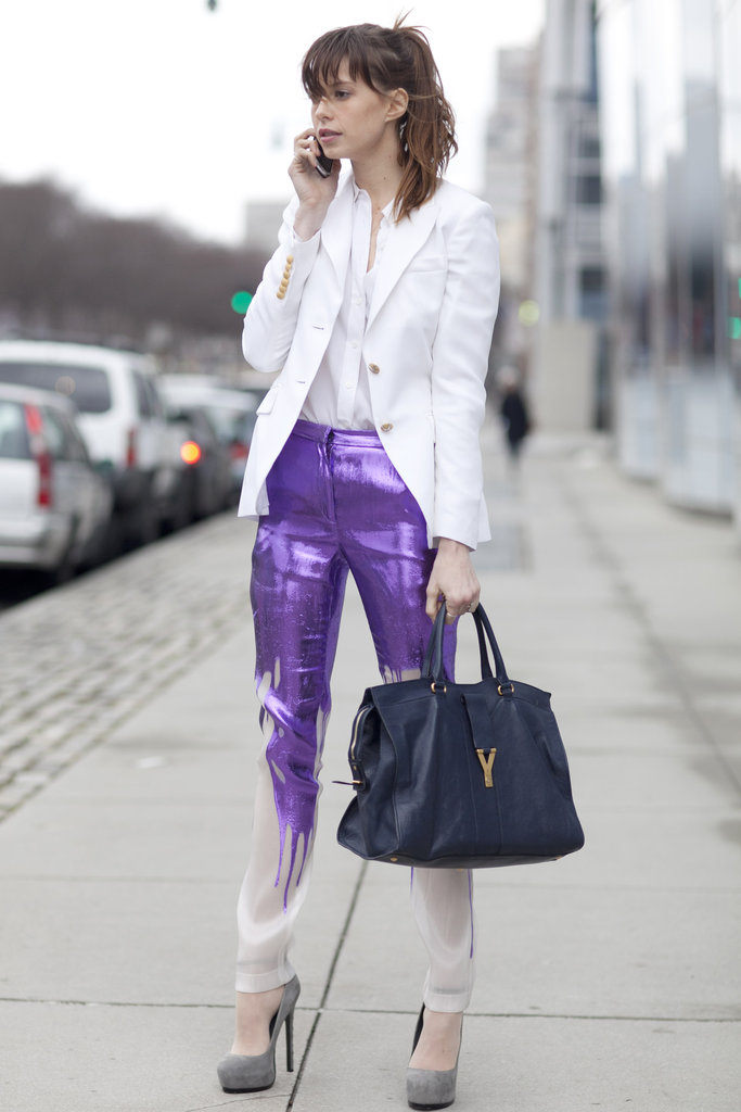 Elletra Weidemann statment pants ysl bag white blazer what to wear fashion week