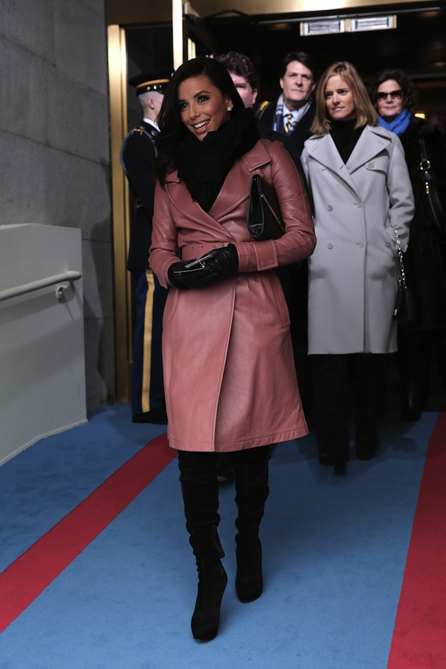 Eva Longoria wears a pastel pink leather trench coat at Presidential Inauguration