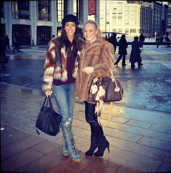 Lindsey Calla twelfth street cynthia vincent faux fur lace hunter boots new york fashion week Joelle Regh