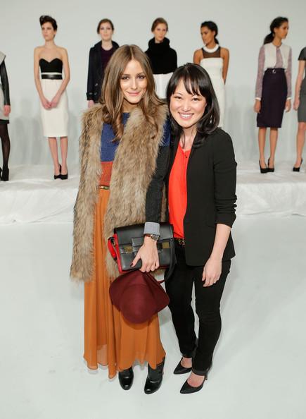 Olivia Palermo Susan Woo fall 2013 fur vest floppy hat maxi skirt Presentation
