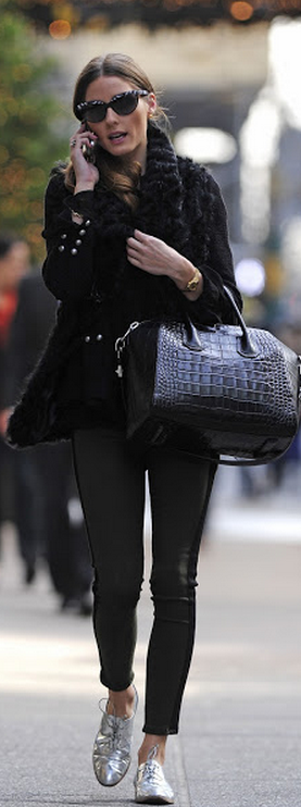 Olivia Palermo current elliot jeans sergio rossi metallic oxfords givenchy bag