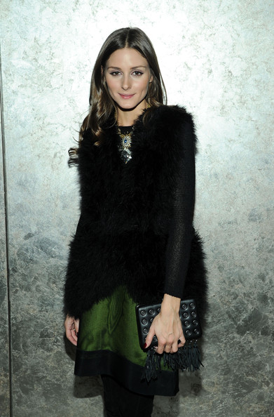 Olivia palermo green skirt La Perla fall 2013 clutch fringe nyfw