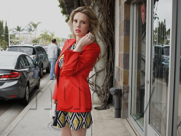 Layer A Brunch Dress With A red Colorful Blazer