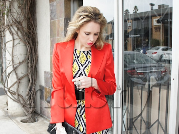 Red Colored Blazer layered over Printed Tribal Dress