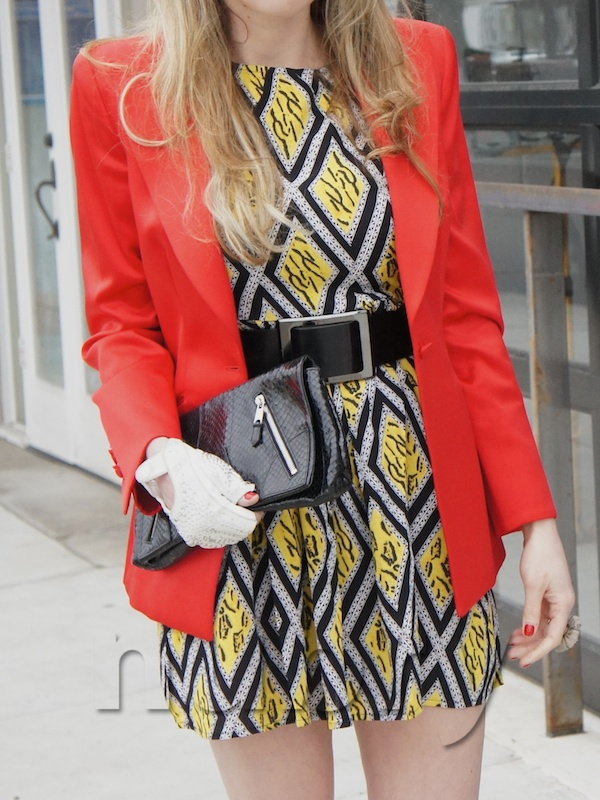 Layer A Brunch Dress With A Colorful Blazer Alexander Mcqueen clutch