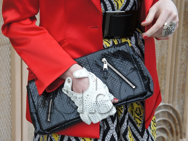 Layer A Brunch Dress With A Colorful Blazer mcqueen clutch